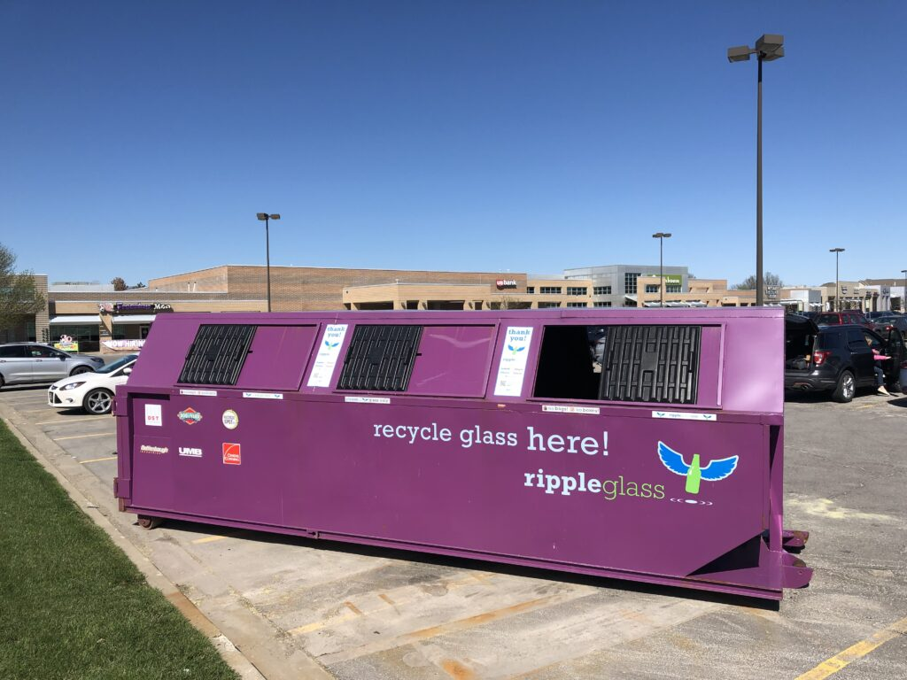 ripple glass recycling drop-off at deer creek marketplace in overland park