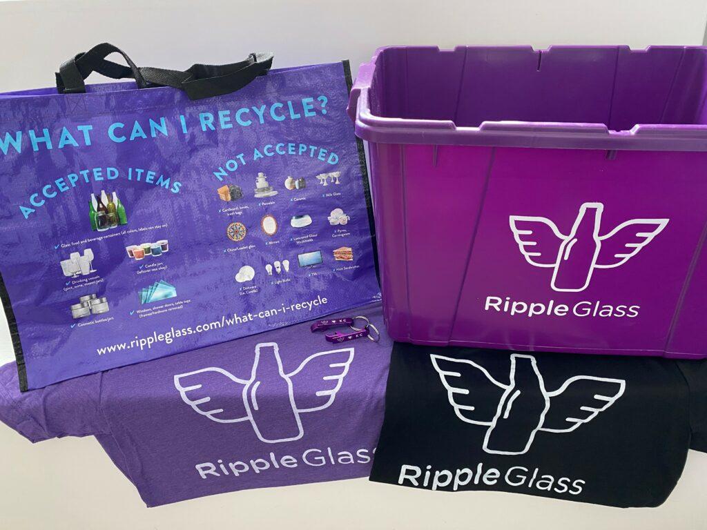 glass recycling bag, bin and t-shirt