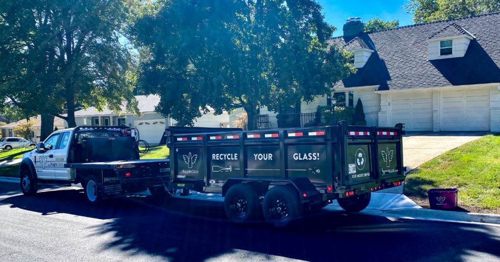 Ripple Glass curbside glass recycling pick-up trailer